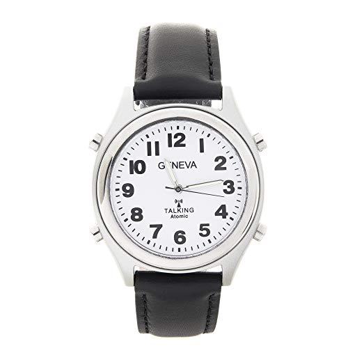 Atomic Geneva Talking Watch Sets Itself with a Touch of a Button! Unisex Black Leather Band w/Alarm Speaks time, Day, Date and Year. Great for The Blind, Elderly or Visually impaired - 8421ATM Black