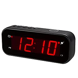 Kwanwa Cordless LED Digital Alarm Clock Battery Powered Only Small for Bedrooms/ Wall/Travel With Big Red Digits