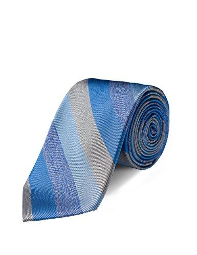 Origin Ties Mens Fashion Striped Skinny Tie Handmade 3 Inch Blue 100% Silk ()