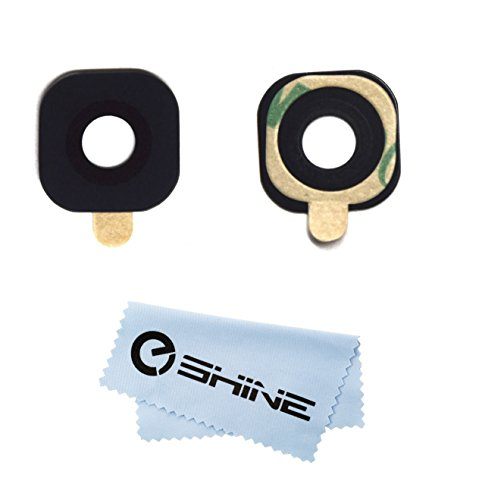 EShine Back Rear Camera Glass Lens Replacement with Adhesive Preinstalled for Samsung Galaxy S6 G920 / S6 Edge G925 (All Carriers)+ EShine Cloth (Blue)