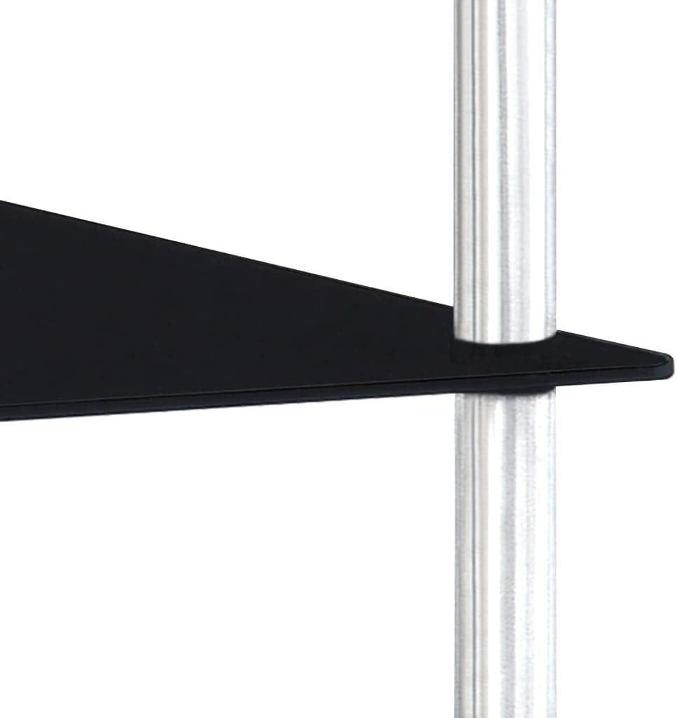 FAMIROSA /Étag/ère /à 3 Niveaux Noir 40x40x67 cm Verre tremp/é