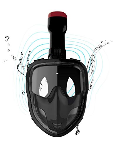 - SpiningGame Snorkel Mask Flat Mirror 180° Panoramic Full Face Design Anti-Fog and Anti-Leak, for Adults Men and Women. (Black, L/XL)