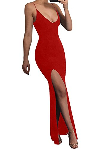 Jessica Rabbit Dresses (TOB Women's Sexy Bodycon Sleeveless Spaghetti Strap V-Neck Evening Long Dress)