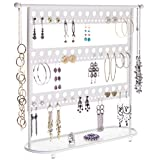 Angelynn's Large Earring Holder Organizer Tree Stand Display Hanging Jewelry Storage Necklace Rack, Laela White
