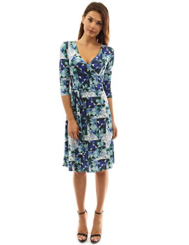 (PattyBoutik Women Faux Wrap A Line Dress (Blue, Green and White X-Large))