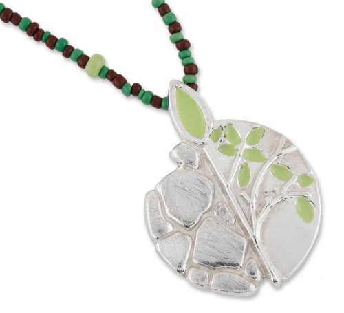 NOVICA .925 Sterling Silver Glass Beaded Necklace 'Maya Tree of (Fair Trade Glass Beaded Necklace)