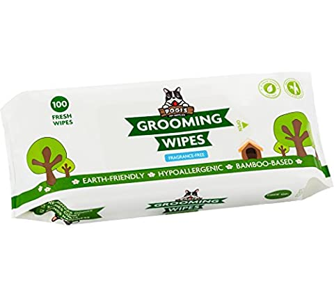 Pogi's Grooming Wipes - 100 Deodorizing Wipes for Dogs & Cats - Large, Hypoallergenic, - Friendly Cat