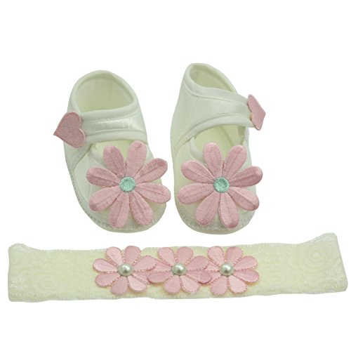 Designer Doll Shoes - Newborn Girls Shoes and Headband Set Gifts for Infant (0-3 Month, Pink Flower)
