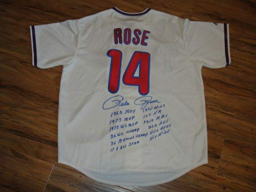 (Pete Rose Signed Jersey - Mn 12 Stats Beckett Bas Certified - Beckett Authentication - Autographed MLB Jerseys)
