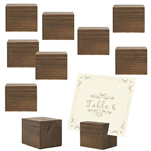 10 piece Rustic Natural Wood Rectangular Table Place Card Holders, Dark Brown by MyGift