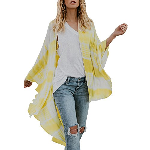 YKARITIANNA Women Plaid Design Open Front Cover Up 2018 Autumn Totem Chiffon Kimono Cardigans Blouse Cover Ups
