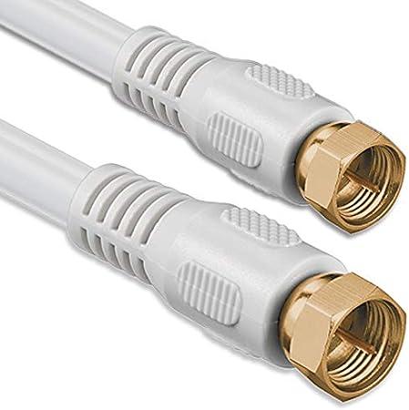 1aTTack - Cable coaxial para Antena (Conector coaxial F a Conector coaxial F, Doble apantallamiento, 75db 85db 100db 110 db 120 db 125 db) Sat Blanco ...