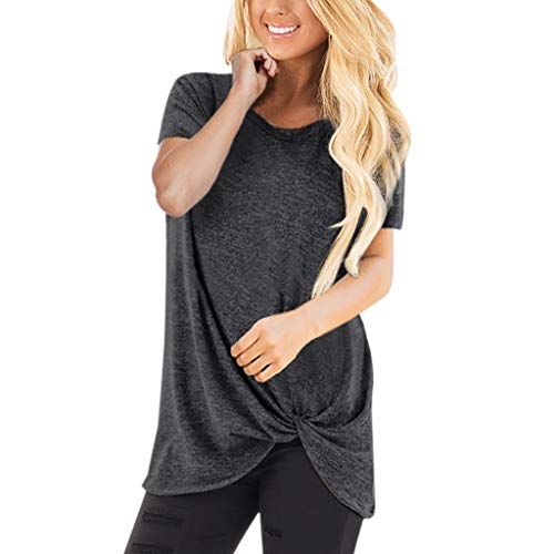 XVSSAA Women's Tops Twist Knotted Blouses Short Sleeve Round Neck Tunic Summer Soft Loose Casual T Shirt Dark Gray