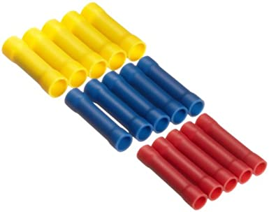wire crimp connectors 5 red 5 blue 5 yellow pack of 15 crown rh amazon com wire connectors crimp terminal wire connectors crimp terminal