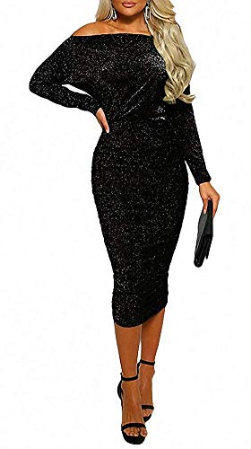 ECHOINE Womens Cocktail Dress - Sexy Elegant Sparkly Sequin Glitter Off Shoulder Bodycon Party Midi Dress Black Black Sequin Cocktail Dress