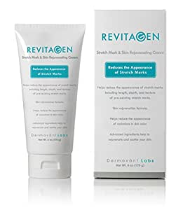 Best Stretch Mark Removal Cream - RevitaGen - Fade & Reduce Stretch Marks Caused by Weight Gain Pregnancy & Muscle Growth - Stop New Stretch Marks From Forming - Natural Moisturizing Treatment with Peptides & Botanicals - Stretch Mark Reducer (6 oz)