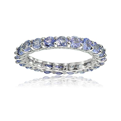 (Ice Gems Sterling Silver Tanzanite 3mm Round-Cut Eternity Band Ring, Size 8 )