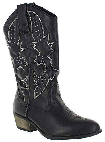 - Women's Mid-Calf Western Cowboy Boots Pull on Ponited Poe Western Stitching Detail