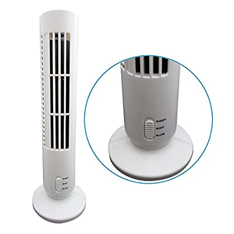 Kenmont QuietSet Tower Fan USB Desk Table Fan Air Cooling Fan with 2 speed, black and white (White) [Energy Class A++] towerfan-02