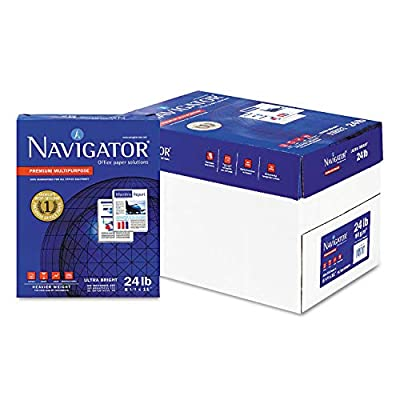 Navigator Premium Multipurpose Paper, 99 Brightness, 24lb, 8-1/2 x 11, White, 5000/Carton - NMP1124