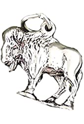 Sterling Silver Charm Buffalo 3d Comes with a Split Ring