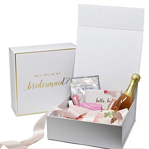 Bridesmaid Proposal Box with Gold Foiled Text | Set of 5 Empty Boxes | Perfect for Will You Be My Bridesmaid gift and wedding present