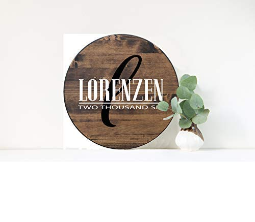 bawansign Wood Plaque Decor Personalized Family Name Sign Custom Round Last Name Sign Wedding Gift Bridal Shower Gift Hand Painted Wall Hanging Wooden Sign ()