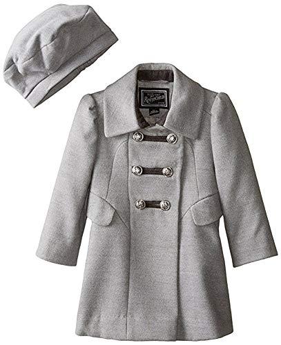 Rothschild Little Girls Wool Look A-line Military Long Winter Dress Coat W/Hat- Grey (Size 3T) -