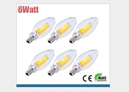 LED Directly Heated Cathode Lamp C35 Bubble Candle E14360 limit light-emitting filament. (pure white(4000K), 6(Watt))