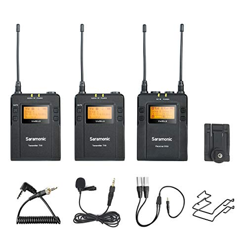 96-Channel UHF Wireless Lavalier Microphone System, Saramonic UwMic9 Omnidirectional Lapel Mic Two Transmitter &One Receiver Compatible with Nikon Canon Sony DSLR Cameras, for Video,Interview,ENG,TV