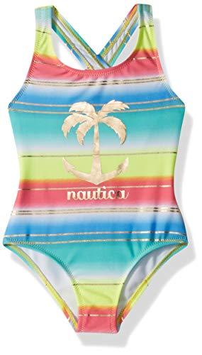 Nautica Big Girls' One Piece Swimsuit, Ombre Lemon, M8/10