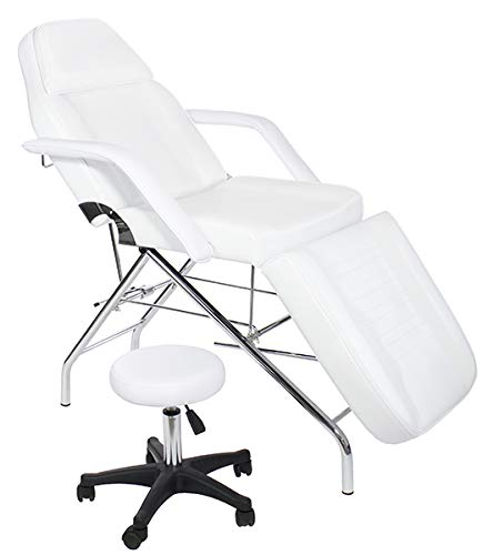 Basic Facial Chair with Free Stool, Facial Bed, Massage Table (white)