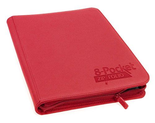 8 Pocket Quadrow Zipfolio Xeno Deck Case, Red