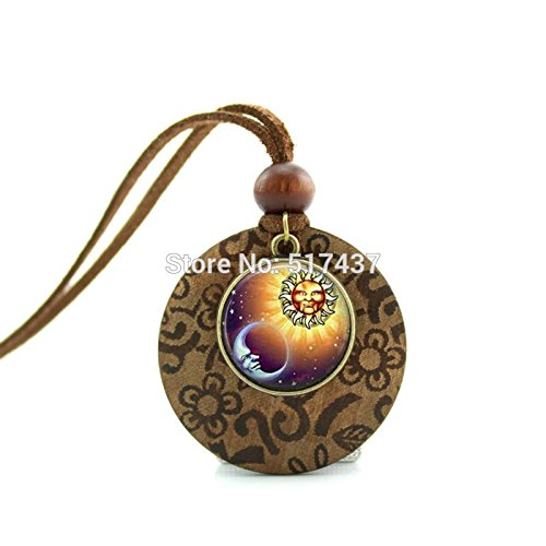 (Pretty Lee New Design Wood Necklace Sun And Moon Necklace Antique Bronze Silver Jewelry Glass Dome)