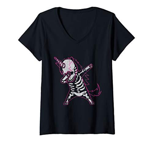 Womens Dabbing Unicorn Skeleton Halloween Costume Men Women Gift V-Neck T-Shirt]()