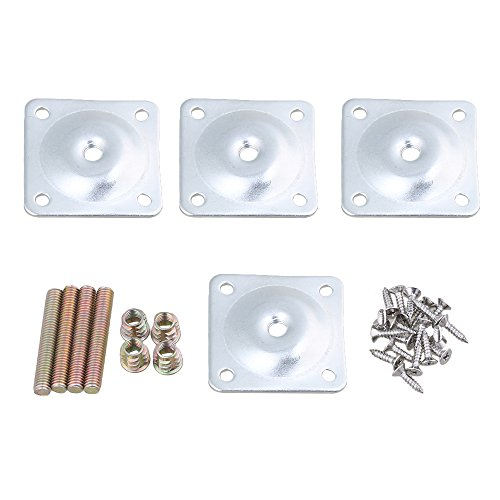 Angled Mounting - Mxfans 4pcs Square 12 Degree Angled Furniture Leg Mounting Plates for Table Leg