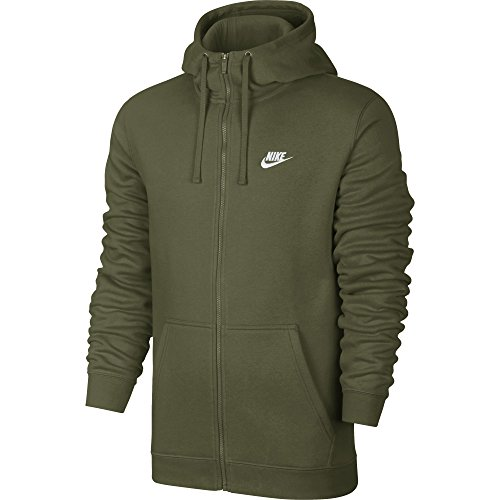 - NIKE Mens Sportswear Full Zip Club Hooded Sweatshirt Olive Canvas/White 804389-395 Size 2X-Large