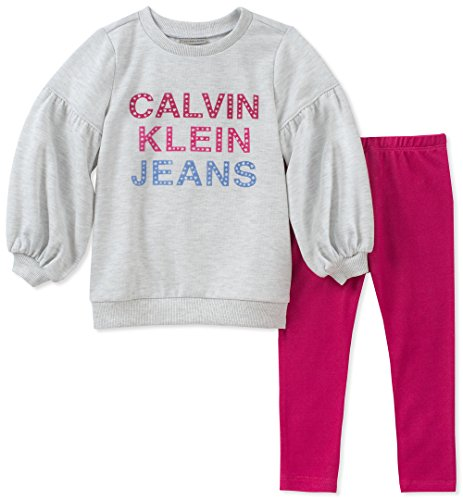 - Calvin Klein Girls' Toddler 2 Pieces Tunic Set, Oatmeal/Berry, 4T