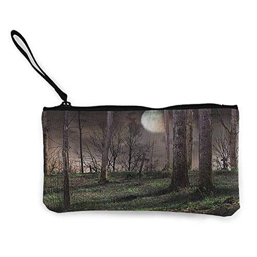 Wallet Bag Gothic Decor Collection,Dark Night in the Forest with Full Moon Horror Theme Grunge Style Halloween Photo,Brown Green Yellow W8.5