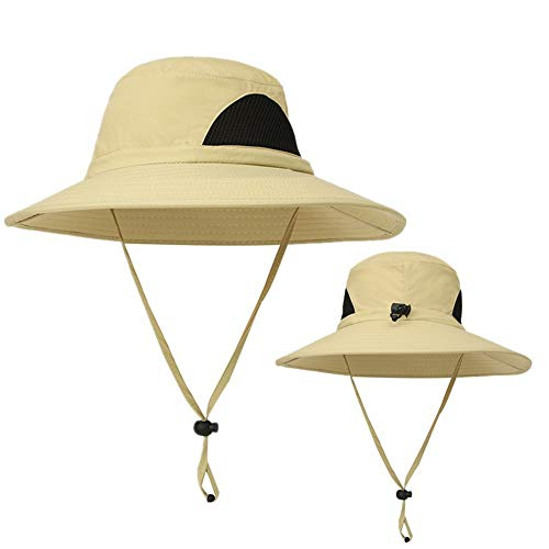 KPWIN Fishing Hat Boonie Sun Hat,Outdoor UPF 50+ UV Protection Bucket Mesh Hat Wide Brim Safari Hiking Beach Hat (Khaki)