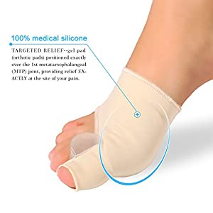 Gel Pad Bunion Corrector Protector Sleeves with Gel Toe Separators Spacers Straightener and Spreader 2 Booties Easy Wear Day or Night for Hallux Valgus Bunion Pain Relief Big Toe Alignment (1 Pair)