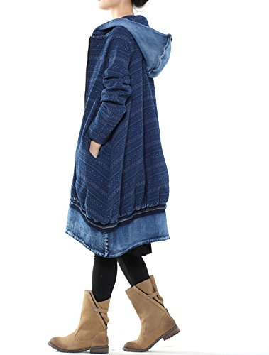 Mordenmiss Women's New Loose Fit Hoodie Zipper Up Denim Trench Coat With Pockets, Style 1-blue, Large by Mordenmiss (Image #4)