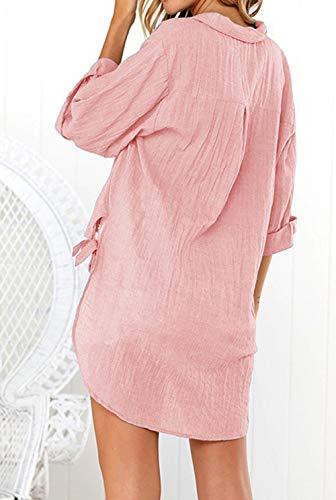 Revers Tops Femmes Chemisiers Rose Shirts Longues Printemps Hauts Irregulier Mode Casual Chemises Longue Tunique Manches et Blouses Automne XwZCfq