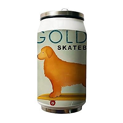 Okoukiu Skateboard Dog Animal Motif double Thermos en acier inoxydable Bouteille d'eau, 280ml