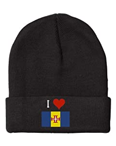 Fastasticdeal Heart Love Madeira Flag Embroidered Beanie Cap