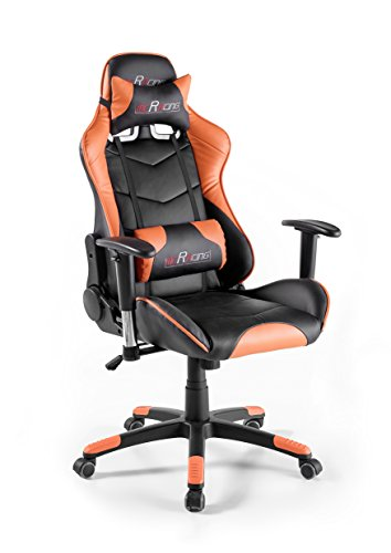Robas Lund MC Racing 12, Silla Gaming, Silla de Oficina, Silla de Escritorio, Gaming Chair, Negro/Naranja, 69 x 125-135 x 58 cm, 62487SO3