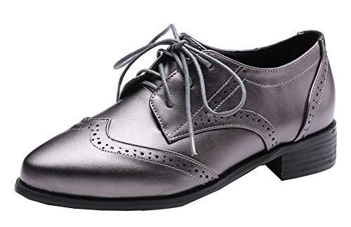 Argent Aalardom Bas Légeres Fermeture Chaussures D'orteil Talon Lacet tsfdh004438 Femme À vAwx7vqTa