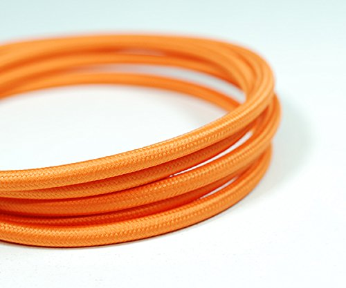fabric lighting cable 3 core. VINTAGE FABRIC LIGHTING CABLE | Orange 3 Core Fabric Lighting Cable I