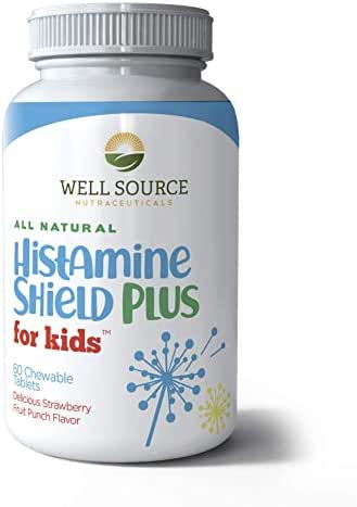 Histamine Shield Plus for Kids™ All Natural Antihistamine Supplement, Compare to D-Hist Jr Histamine Blocker, Works On All Allergy Types. Pollen, Pet Dander, Dust, Mold, and Odor Allergies. 60 Tablets