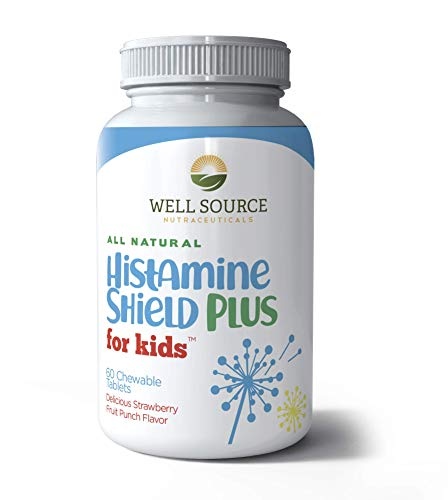 Histamine Shield Plus for KidsTM All Natural Antihistamine Supplement, Compare to D-Hist Jr Histamine Blocker, Works On All Allergy Types. Pollen, Pet Dander, Dust, Mold, and Odor Allergies. 60 Tablets